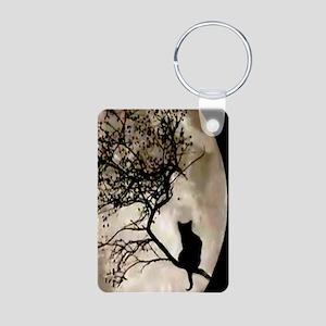 Cat and Moon Aluminum Photo Keychain