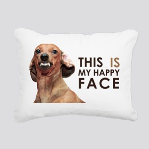 Happy Face Dachshund Rectangular Canvas Pillow