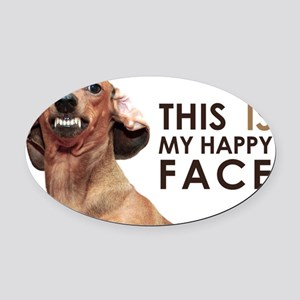 Happy Face Dachshund Oval Car Magnet