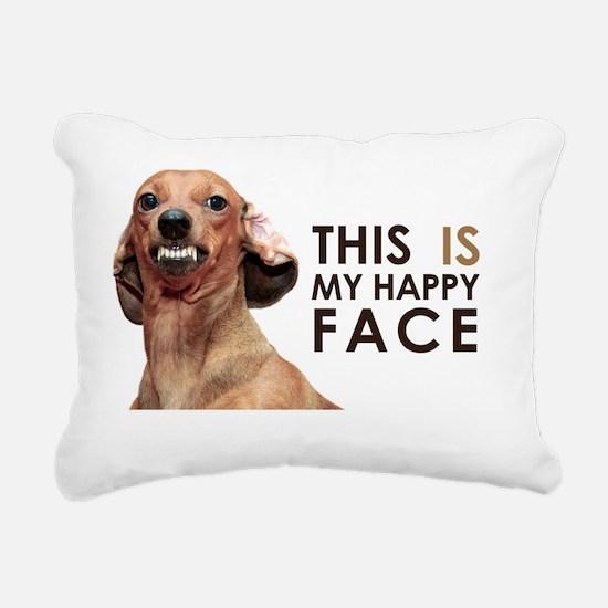 Happy Face Dachshund Rectangular Canvas Pillow