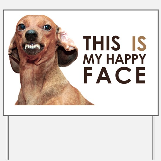 Happy Face Dachshund Yard Sign