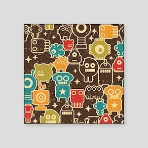 """Retro Robots Square Sticker 3"""" x 3"""""""