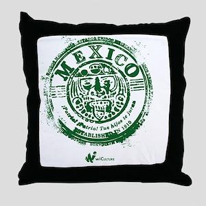 Mexico Stamp Throw Pillow