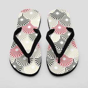 Asian Floral Pattern Flip Flops