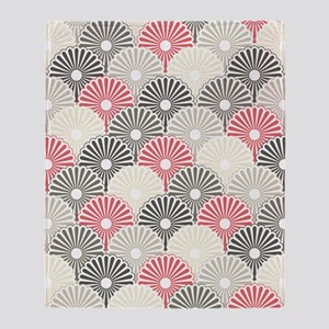 Asian Floral Pattern Throw Blanket