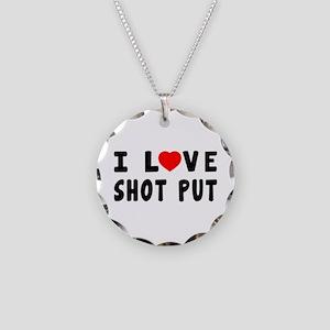 I Love Shot Put Necklace Circle Charm