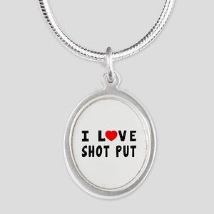 I Love Shot Put Silver Oval Necklace