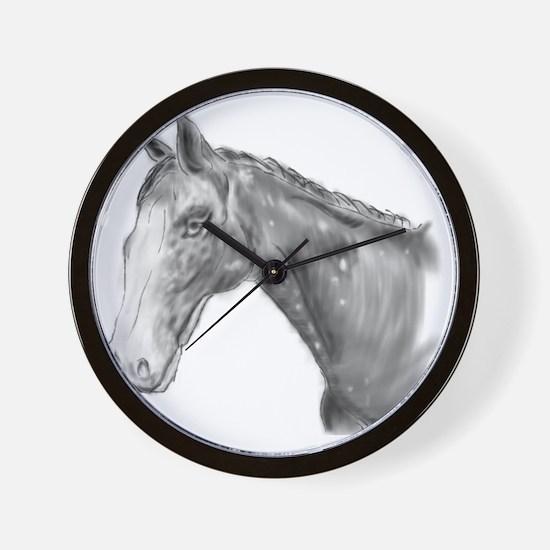 Black and White Horse Print Wall Clock