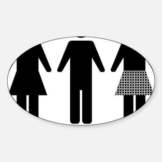 Ladies Gents Jocks (Black) Sticker (Oval)
