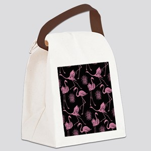 Flamingos on Black Canvas Lunch Bag