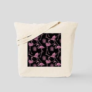 Flamingos on Black Tote Bag