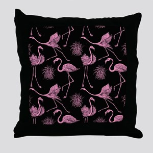 Flamingos on Black Throw Pillow
