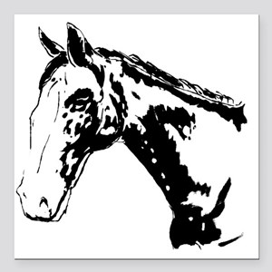 Black And White Horse Pr Square Car Magnet 3