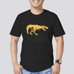 T rex, honey badger Men's Fitted T-Shirt (dark)