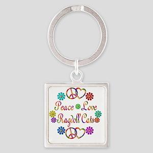 Peace Love Ragdoll Cats Square Keychain