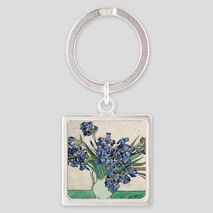 Van Gogh Irises Square Keychain