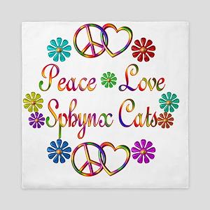 Peace Love Sphynx Cats Queen Duvet