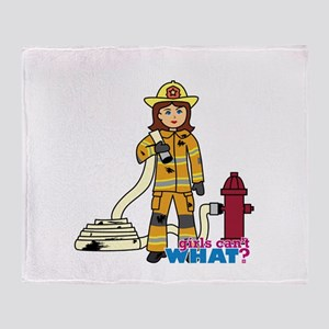 Firefighter Woman Throw Blanket