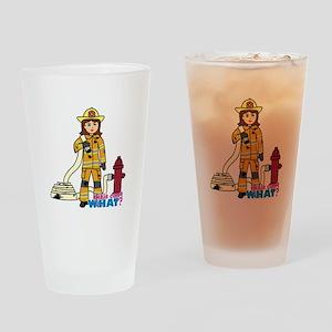 Firefighter Woman Drinking Glass