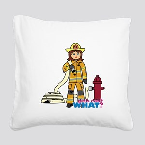 Firefighter Woman Square Canvas Pillow