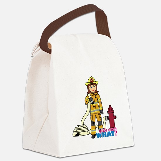 Firefighter Woman Canvas Lunch Bag