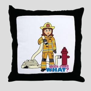 Firefighter Woman Throw Pillow