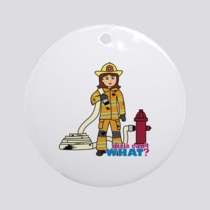 Firefighter Woman Ornament (Round)
