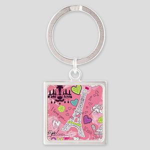 Love in Paris Square Keychain