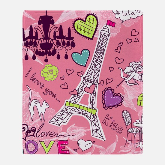 Love in Paris Throw Blanket