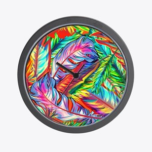 Bright Feathers Wall Clock