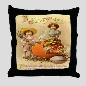 Vintage Easter Postcard Poster Throw Pillow