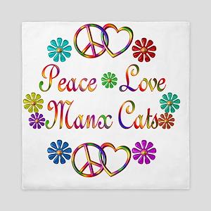Peace Love Manx Cats Queen Duvet