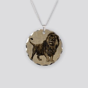 Vintage Lion Necklace Circle Charm
