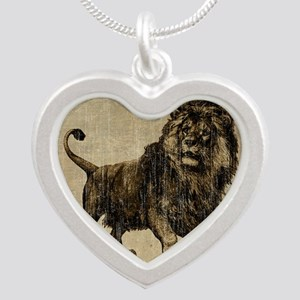 Vintage Lion Silver Heart Necklace