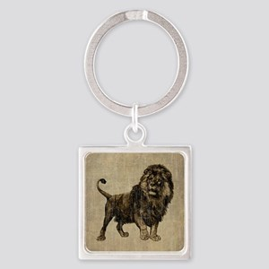 Vintage Lion Square Keychain