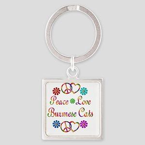 Peace Love Burmese Cats Square Keychain