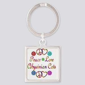 Peace Love Abyssinian Cats Square Keychain