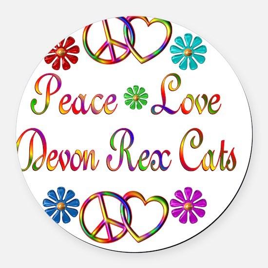 Peace Love Devon Rex Cats Round Car Magnet