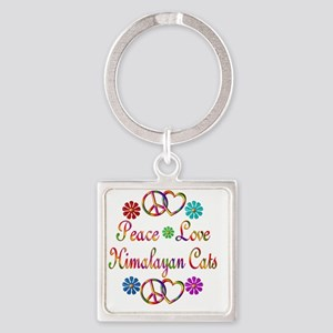 Peace Love Himalayan Cats Square Keychain