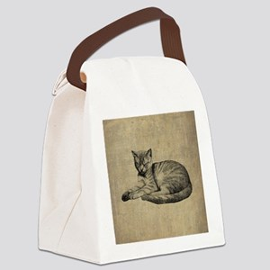 Cute Vintage Cat Canvas Lunch Bag