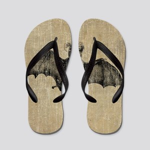 Vintage Bat Illustration Flip Flops