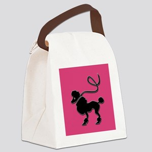 Pink Poodle Canvas Lunch Bag