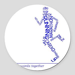 Running Man in Words (rwt) Round Car Magnet