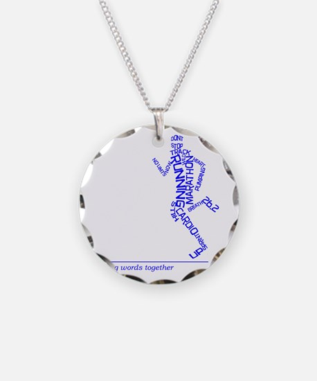 Running Man in Words (rwt) Necklace