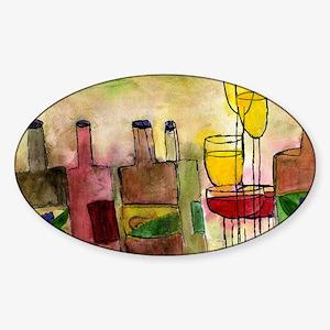 Tuscany Wine art Sticker (Oval)