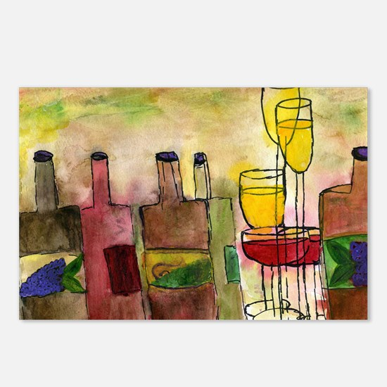 Tuscany Wine art Postcards (Package of 8)