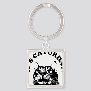Caturday Square Keychain