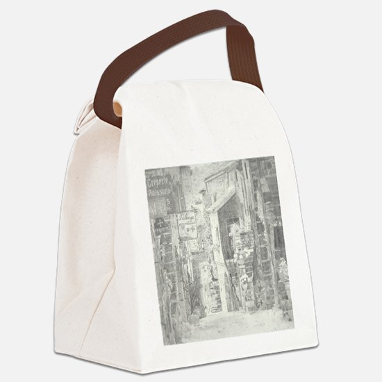 Quaint French Village done in Gra Canvas Lunch Bag