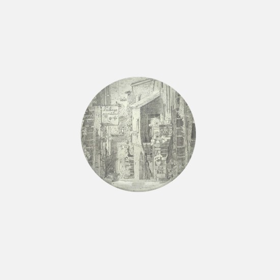 Quaint French Village done in Graphite Mini Button
