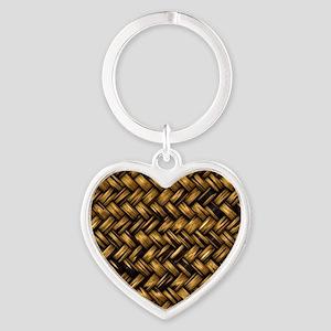 Basket Weave Heart Keychain